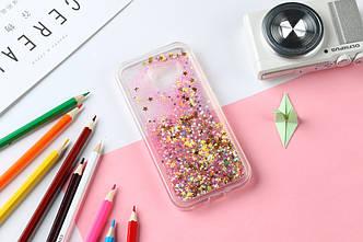 Чехол Бампер Glitter Жидкий блеск для Samsung Galaxy A7 2016 / A710 с блестками звезды розовый