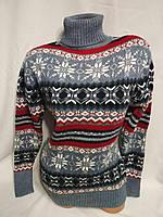 Жіночий в'язаний шерстяний светр під горло зі сніжинками, блакитний.Туреччина., фото 1