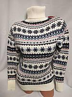 Женский новогодний вязаный свитер под горло со снежинками, белый.Турция., фото 1