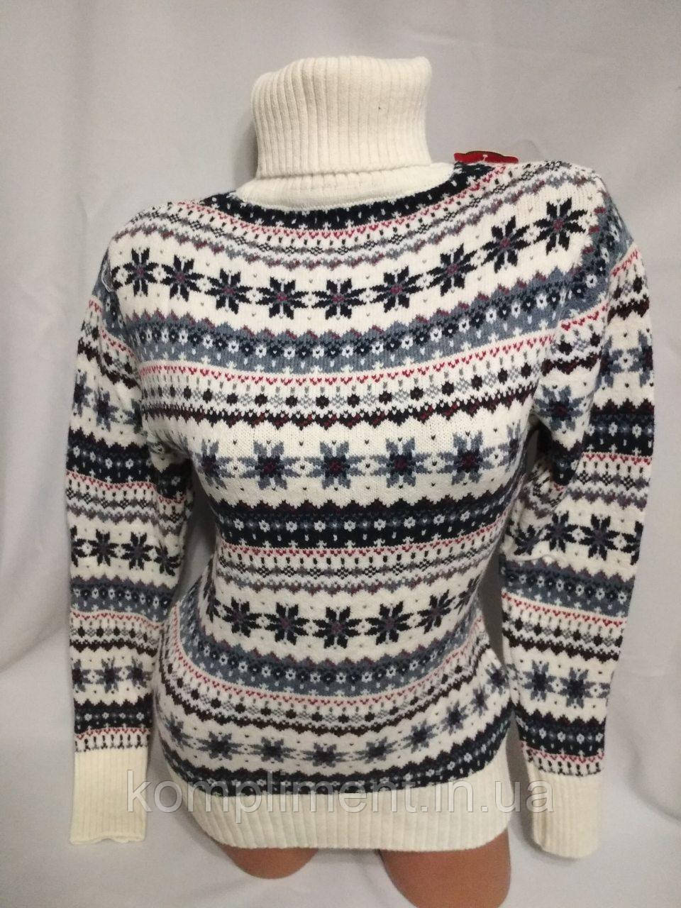 Жіночий новорічний в'язаний светр під горло зі сніжинками, білий.Туреччина.