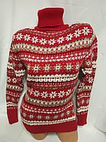 Жіночий новорічний в'язаний светр під горло зі сніжинками, червоний.Туреччина., фото 1