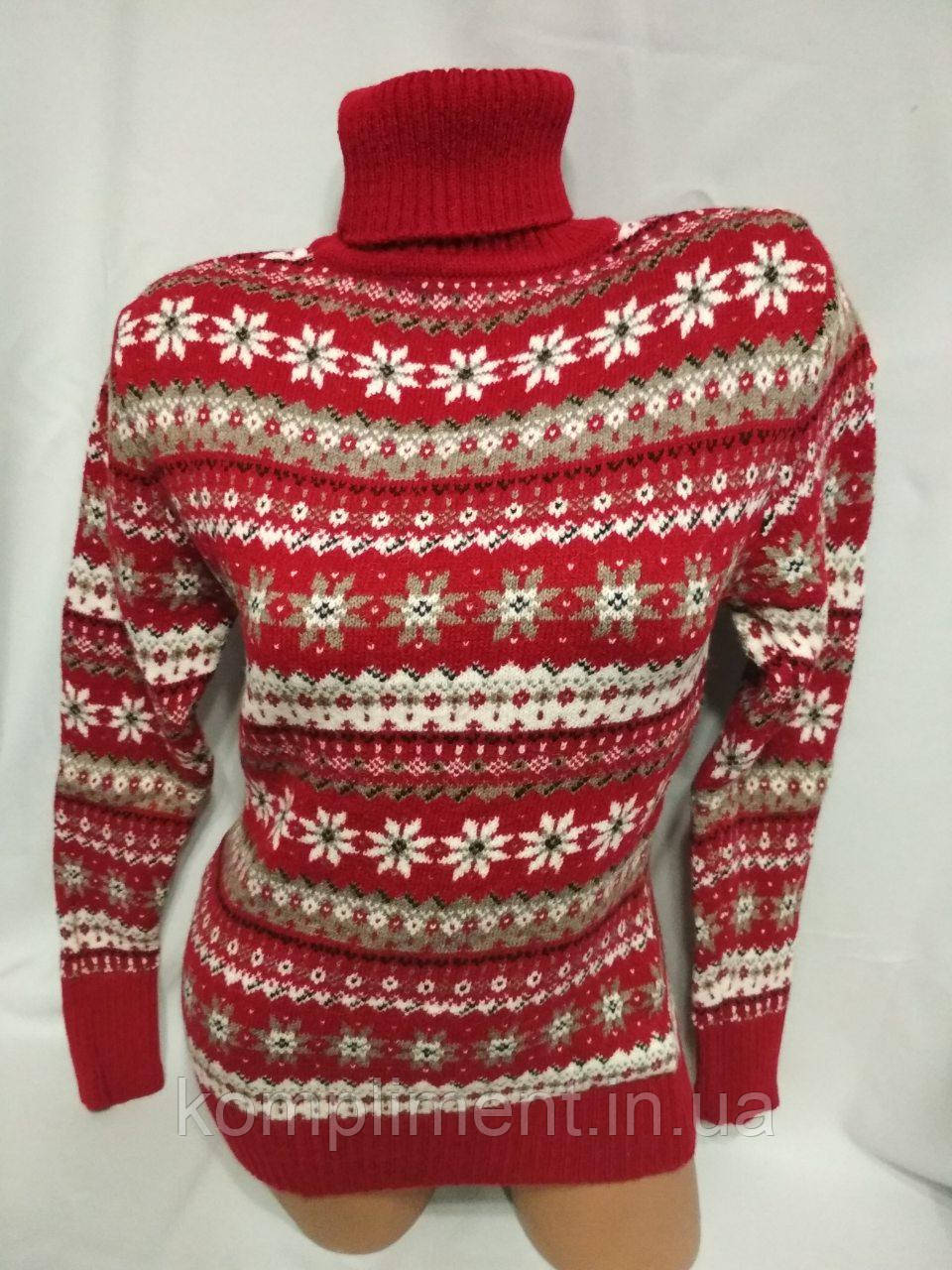 Женский новогодний вязаный свитер под горло со снежинками, красный.Турция.
