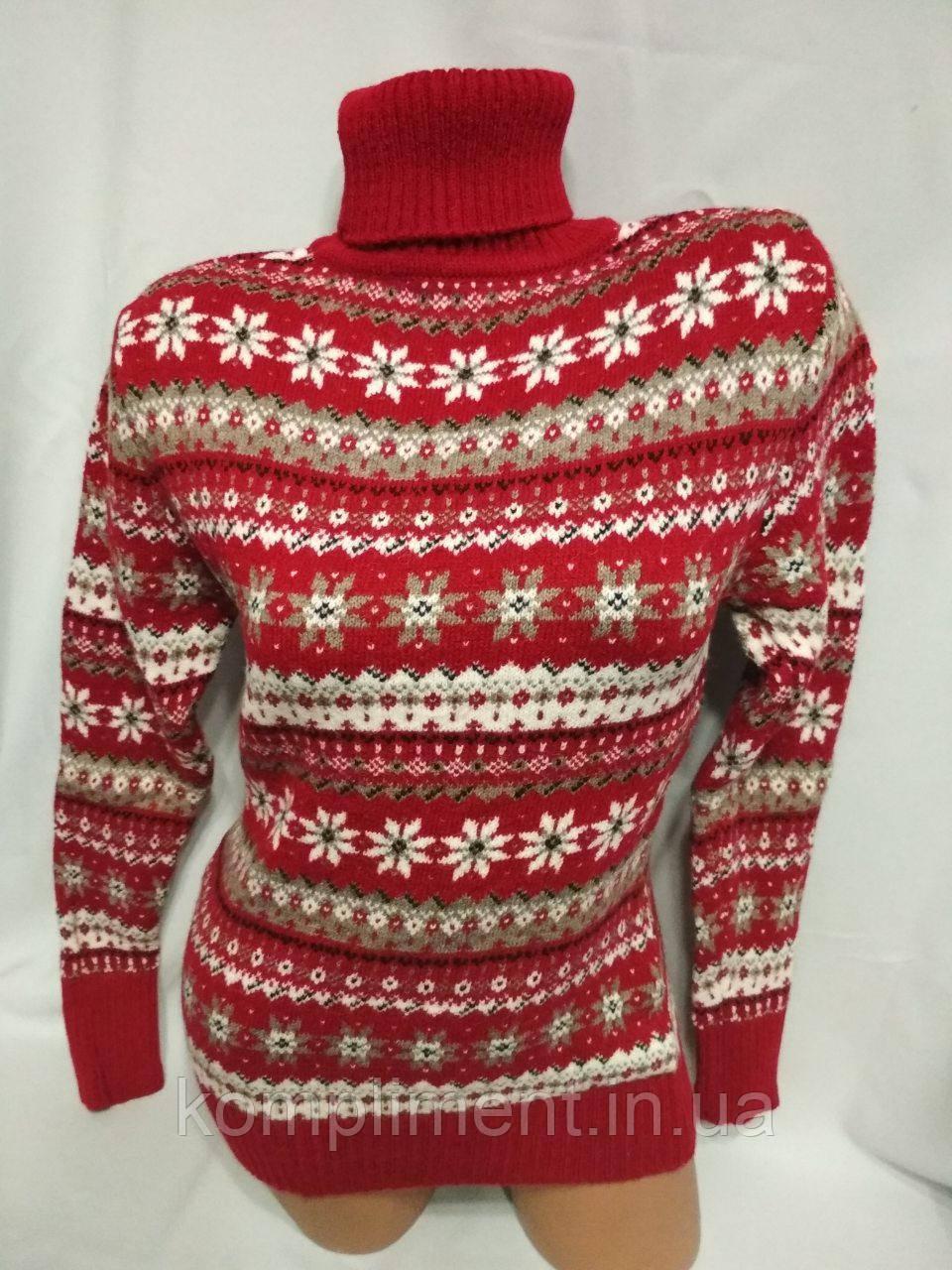 Жіночий новорічний в'язаний светр під горло зі сніжинками, червоний.Туреччина.