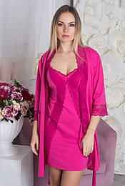 Ночная рубашка кружевная + халат из хлопка К711н Малиновый