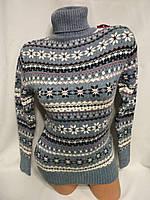 Женский новогодний вязаный свитер под горло со снежинками,голубой.Турция., фото 1