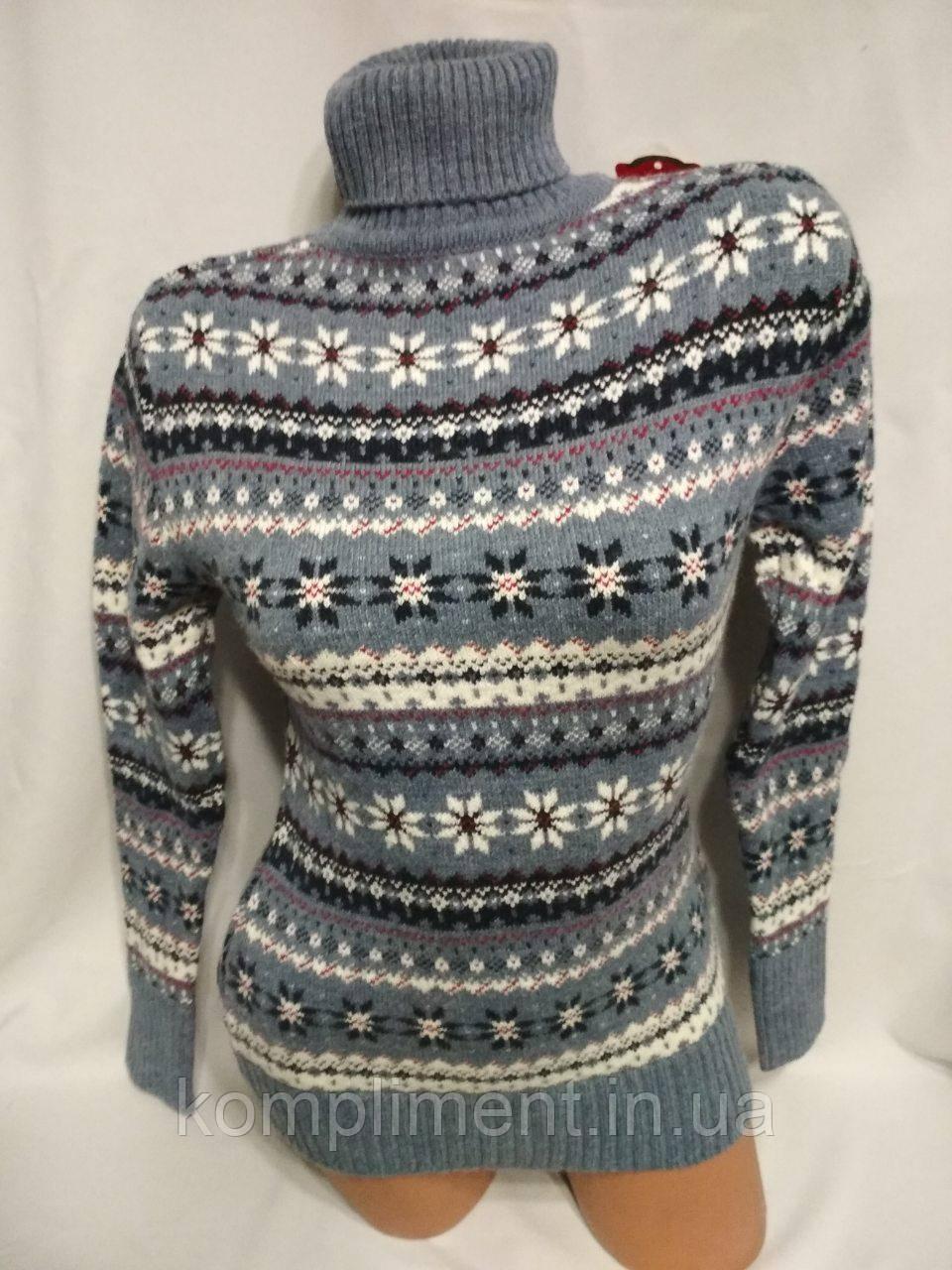 Женский новогодний вязаный свитер под горло со снежинками,голубой.Турция.