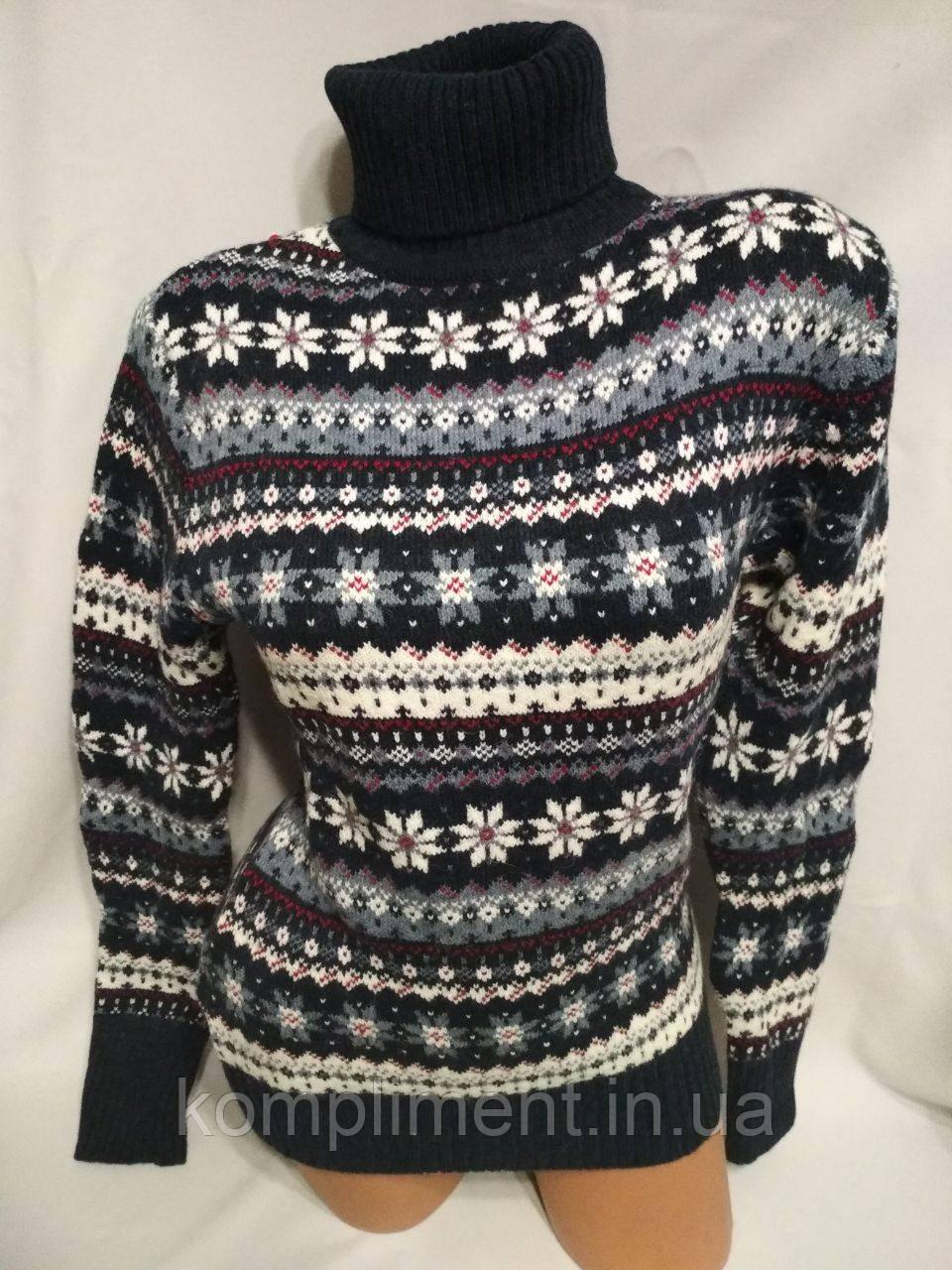 Женский новогодний вязаный свитер под горло со снежинками,синий.Турция.