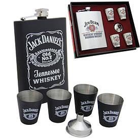 Подарочный набор фляга Jack Daniels, четыре стаканчика и лейка FP610041