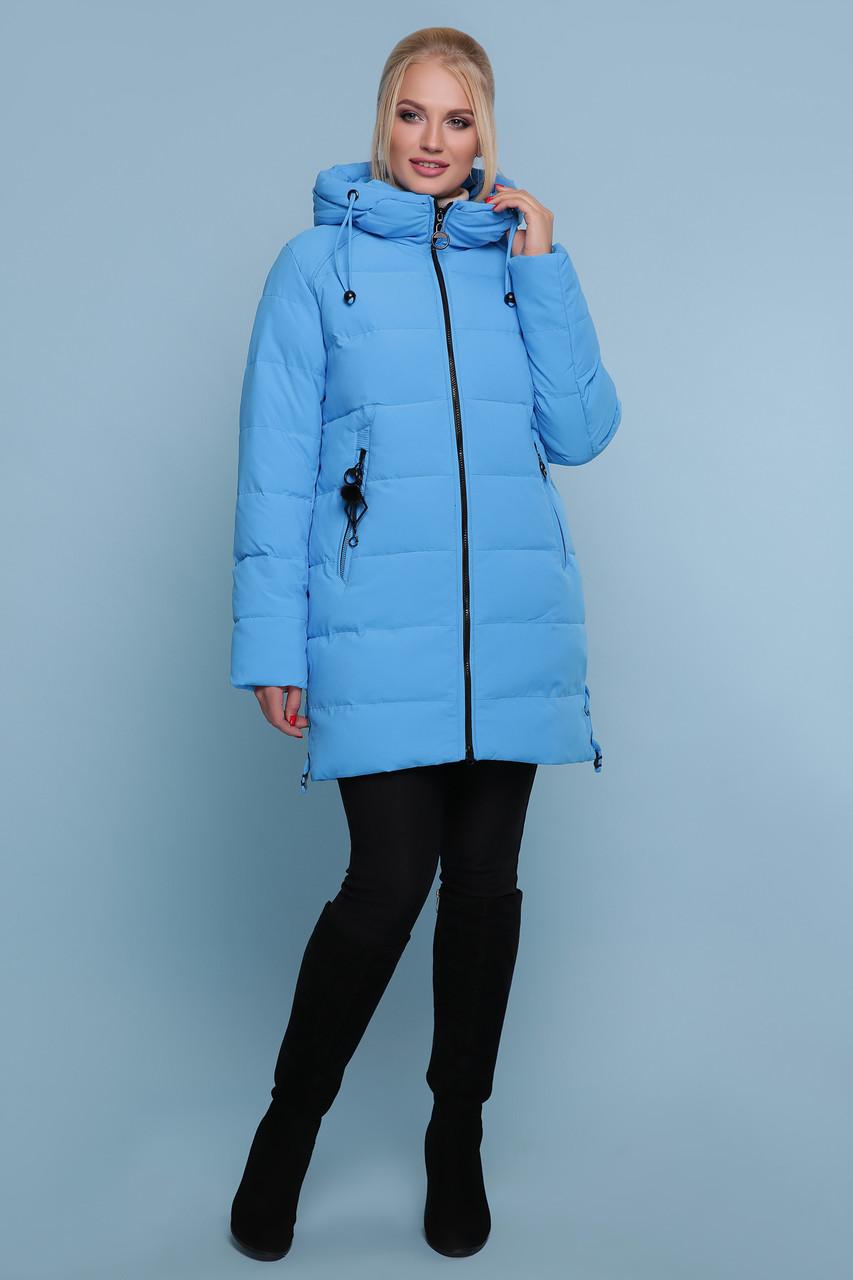 Куртка женская зимняя с капюшоном голубая размеры: xl