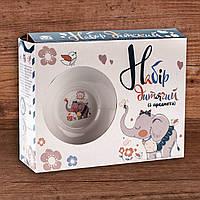 Набор посуды для детей  3-х предметный стеклокерамика в ассортименте., фото 1