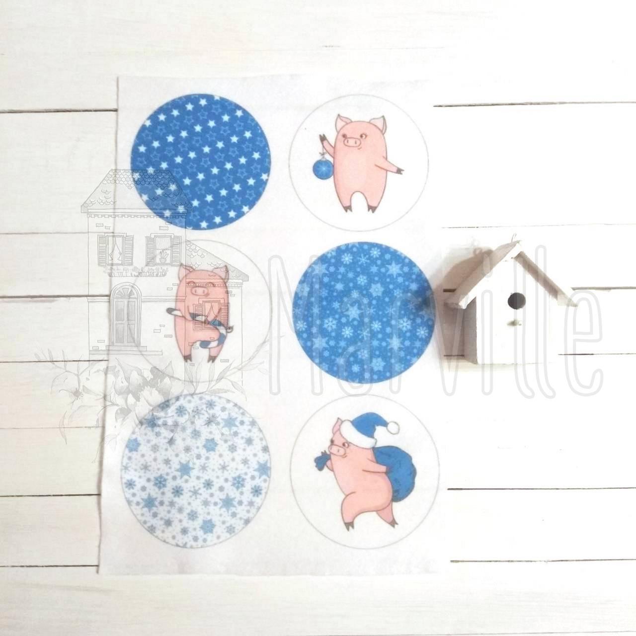 """Фетр мягкий с рисунком """"Новогодние шарики: Свинки синие"""""""