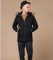Куртка молодежная с мехом Braggart Youth черная топ реплика