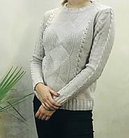 Женский вязаный свитер.( Длина- 66 см). S- L Размер.