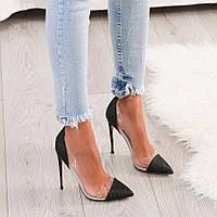 Черные женские туфли с силиконом,праздничные