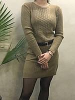 Женское вязаное платье ( Длина - 90 см). S- L Размер.