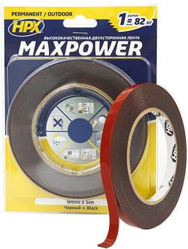 Скотч двухсторонний Maxpower черный 9мм на 5 метров