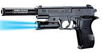 Пистолет P2118-B 120шт батар.,свет,глушитель,пульки в коробке 2114,54см