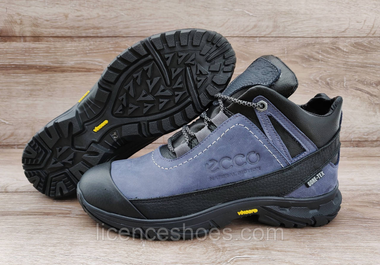 22c3240e Новинка Мужские синие зимние ботинки Ecco Biom. Натуральная кожа и мех.