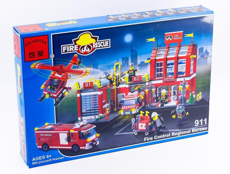 "Конструктор Brick 911 ""Пожежна частина-рятувальні"" компанії, серії (Fire Control Regional Bureau з Resccue)"