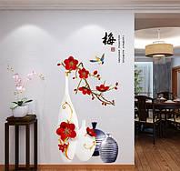 Интерьерная наклейка - Цветы в вазе (100х60см)