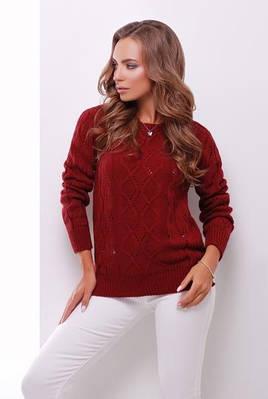 (S-L) Стильний бордовий в'язаний светр Aleksa