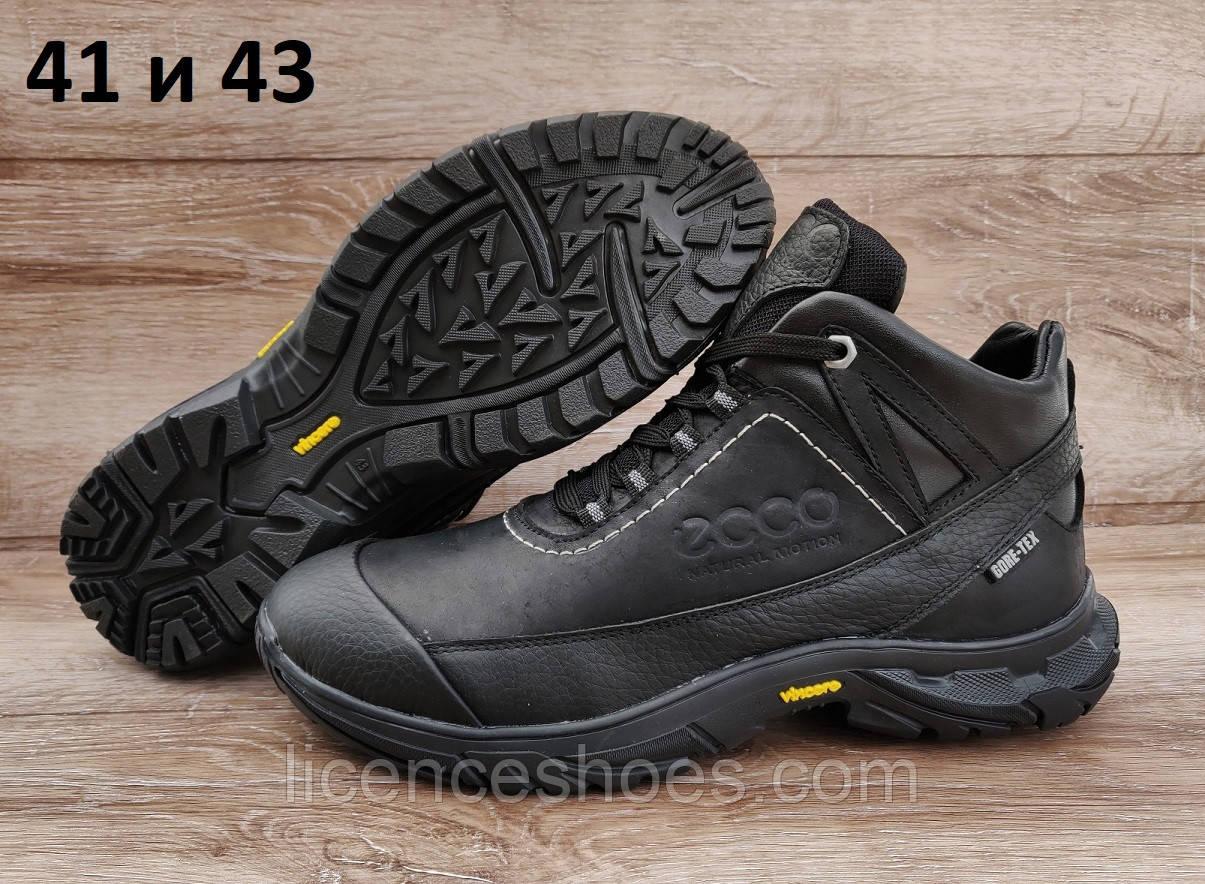 Мужские черные зимние ботинки Ecco Biom. Натуральная кожа и мех