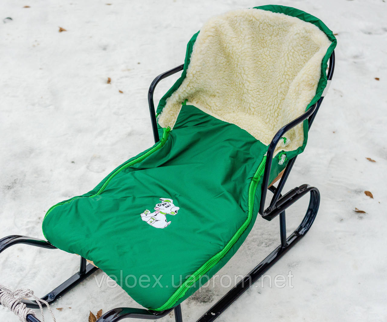 Конверт в санки, коляски овчина зеленый