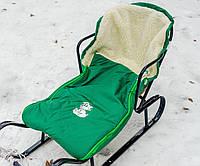 Конверт в санки, коляски овчина зеленый, фото 1