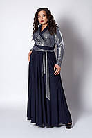 Платье мод №577-5, размер 52,54,56 синее