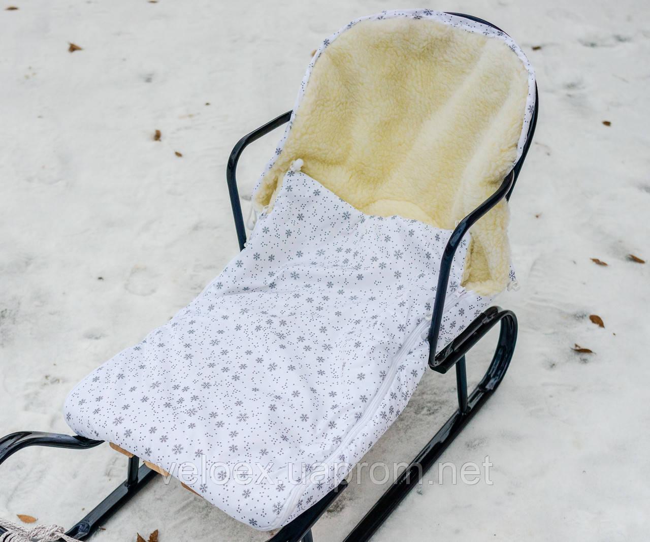Конверт в санки, коляски овчина снежинки