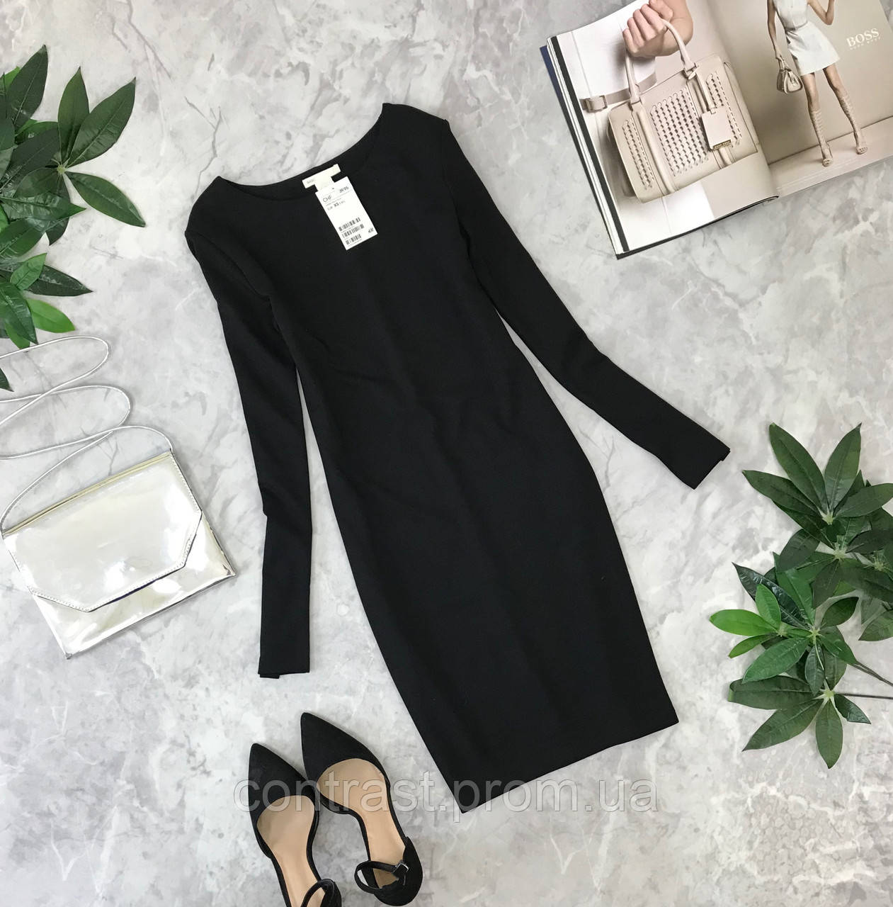 Маленькое чёрное платье с длинным рукавом  DR1849151