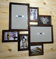 Деревянная эко мультирамка, коллаж #407 орех, венге, белый, чёрный., фото 1