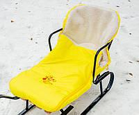 Конверт в санки, коляски овчина желтый, фото 1