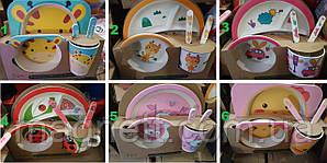 ЭКО Набор детской посуды из бамбука (Разные цвета и рисунки)
