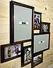 Деревянная эко мультирамка, коллаж #407 венге, орех, белый, чёрный.
