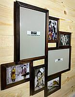 Деревянная эко мультирамка, коллаж #407 венге, орех, белый, чёрный., фото 1