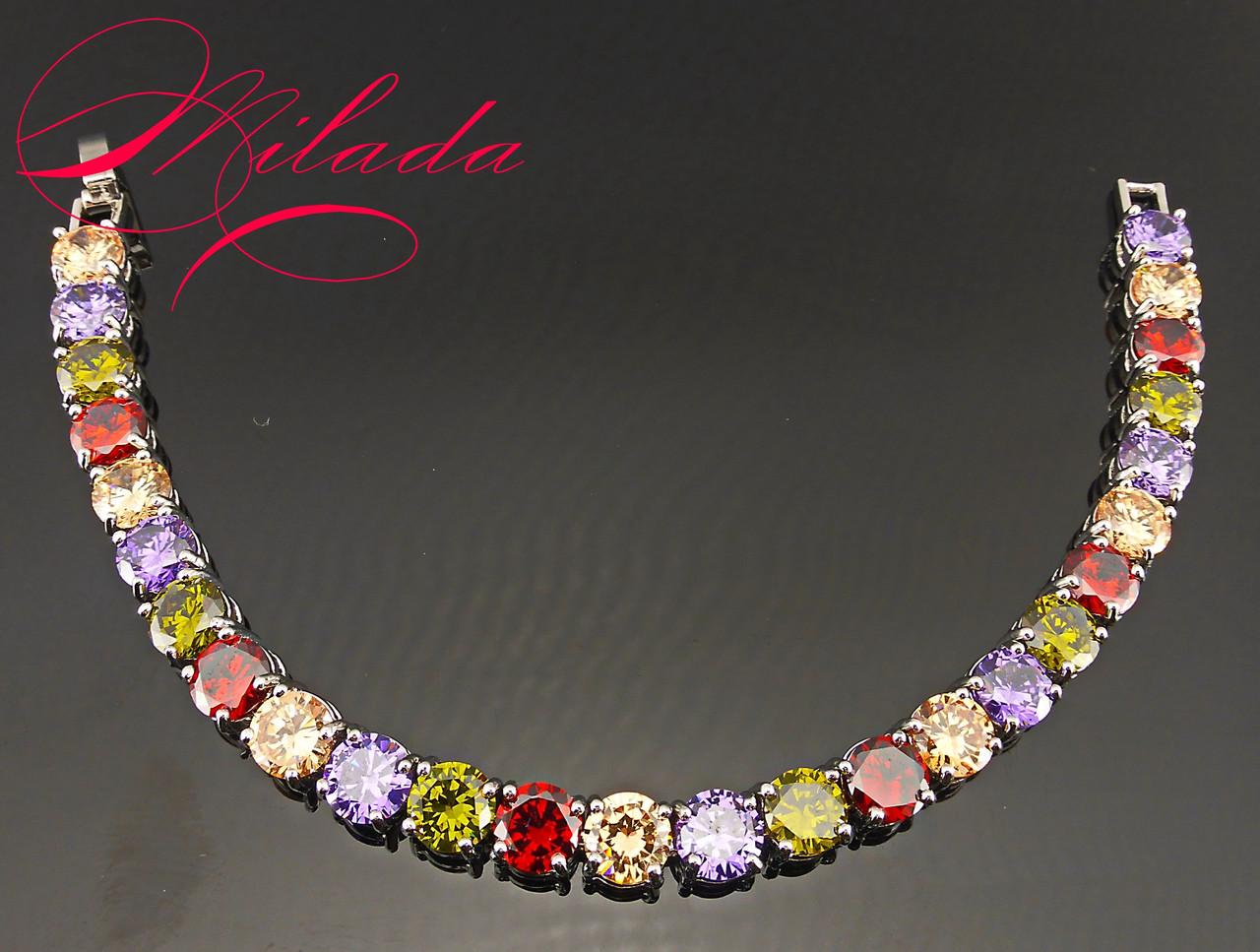 Женский браслет с разноцветными цирконами