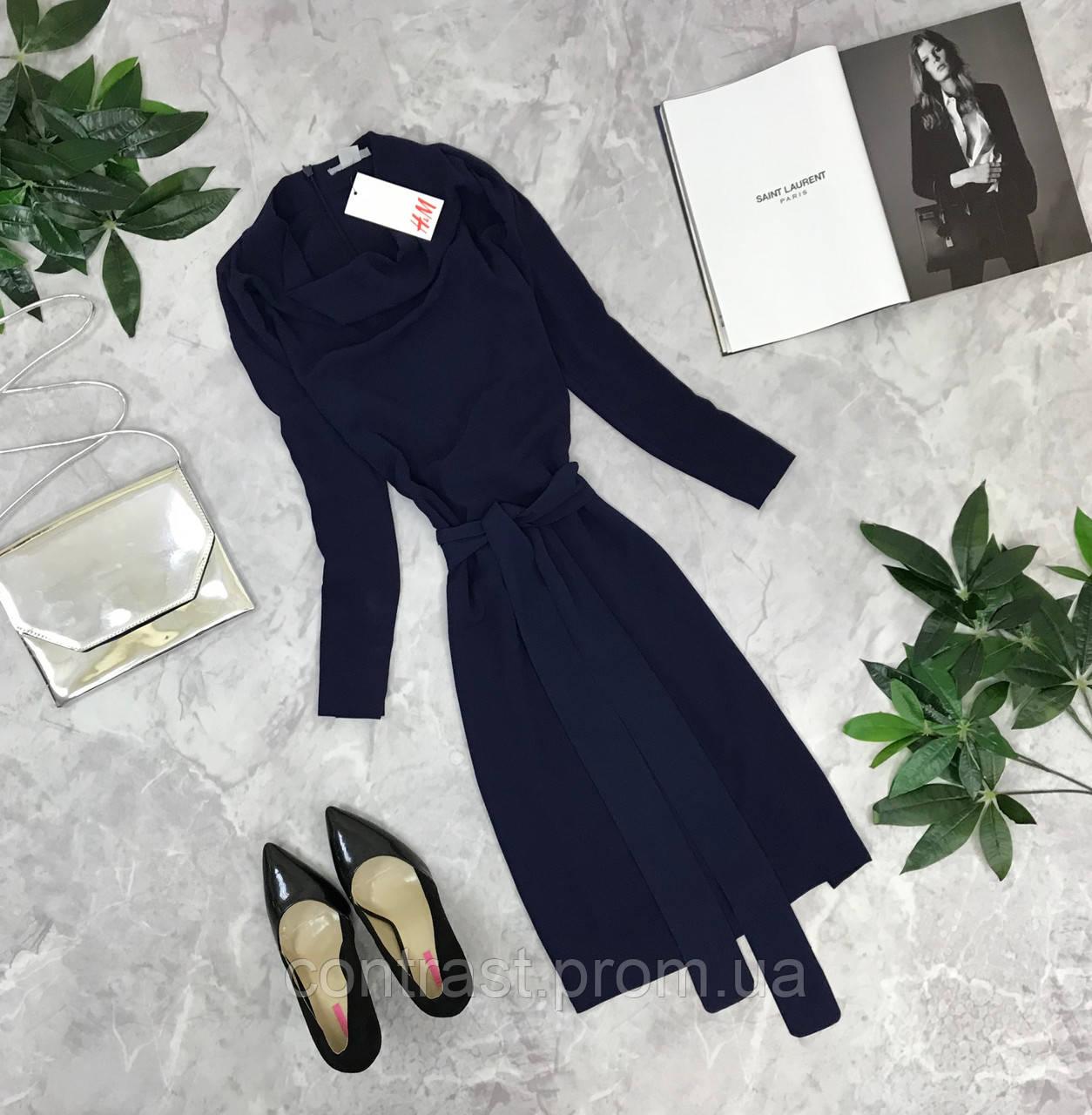 Шикарное платье в тёмно-синего цвете с широким поясом  DR1849165