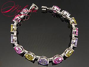 Женский браслет с разноцветными цирконами, фото 2