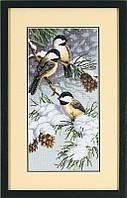 Набор для вышивания DIMENSIONS «Chickadees and Pinecones  • Снегири и ель» 13673