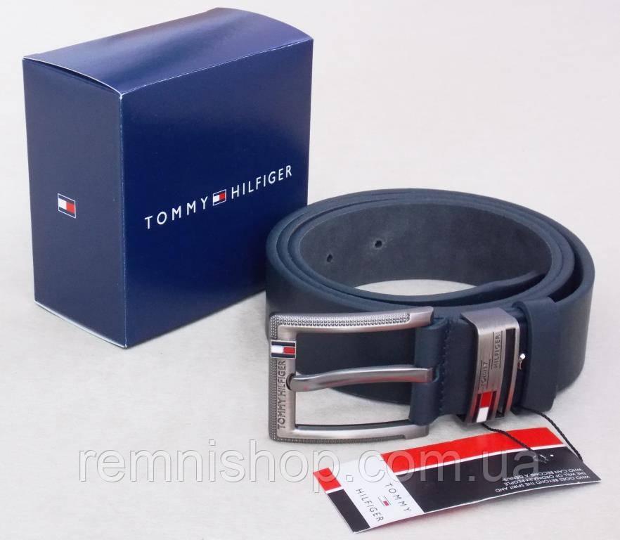 Кожаный мужской ремень синий Томму в подарочной коробке