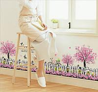 Интерьерная наклейка - Забор с цветами (108х55см)