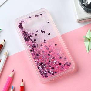 Чехол Glitter для Samsung G530 / G531 / Galaxy Grand Prime бампер Жидкий блеск сердце Розовый