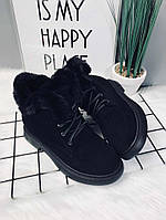 Женские зимние ботинки чёрные , фото 1