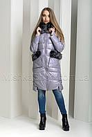 Экстравагантный пуховик из экокожи Ana Vista 07 с натуральным мехом чернобурки сиреневого цвета