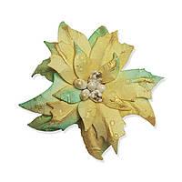 Цветок из 100% целлюлозы - Пуансетия с тиснением YellowMint с золотом, размер 6,5 см, 1 шт