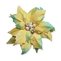 Цветок из 100% целлюлозы - Пуансетия с тиснением YellowMint с перламутром, размер 6,5 см, 1 шт