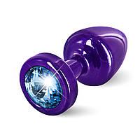 Анальная пробка со стразом Diogol ANNI round purple Аквамарин 25мм