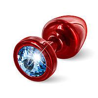 Анальная пробка со стразом Diogol ANNI round red Аквамарин 25мм
