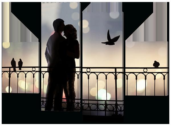 Модульная картина Interno Эко кожа Влюбленные на мосту 146x108см (A315L)